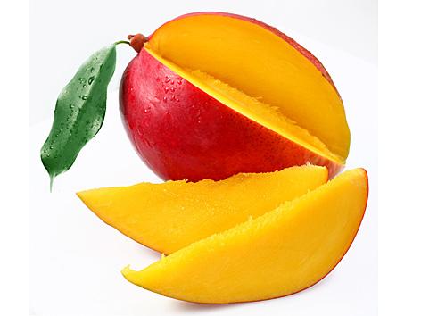 Mango with lobules on a white background