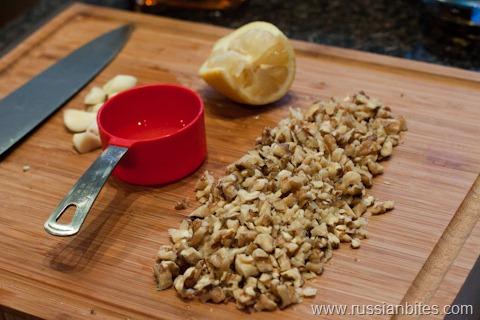walnuts and garlic